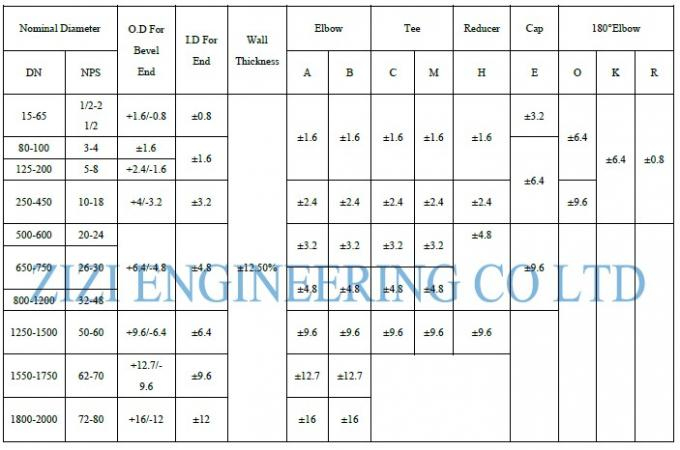 "Alloy Steel Butt Weld Pipe Fittings 1 / 2 "" To 60 "" Size ASTM A234 ASME B16 9"