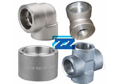 China Stainless Steel Socket Weld Pipe Fittings 1 / 8 - 4 Inch Size 9000LB Pressure BS3799 supplier